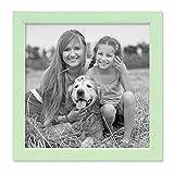 PHOTOLINI Bilderrahmen Grün 20x20 cm Massivholz mit Acrylglasscheibe/Fotorahmen Mint/Wechselrahmen