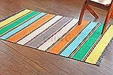Mehrfarben gestreifter Teppich. Flach gewebter beidseitig verwendbarer Teppich aus 100 % purer Bio-Baumwolle & natürlichen Färbemitteln. Größe: 120x180 , Code # 3185