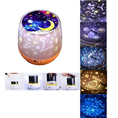 Rotierende Zwölf Konstellationen Nachtlicht Projektor Lampe, 5 Filme 3 Modi Dekoration Licht Stimmungslichter für Kinder Schlafzimmer Wohnzimmer,Das beste Geschenk für Kinder