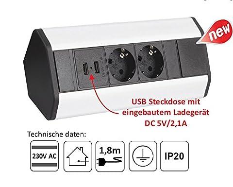 Möbel Steckdosen 2x USB Küchen Steckdose unterbausteckdose aufbausteckdose DLU-2
