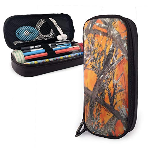 GLPYHOO Realtree Camo Orange Large Capacity Pencil Case PU Leather Functional Stationery Bags -
