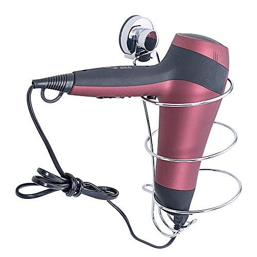 TAILI Haartrocknerhalter Fönhalter mit saugnapf Kabelhalter Befestigen Ohne Bohren zur Wandmontage, Chrom Bad-Accessoires