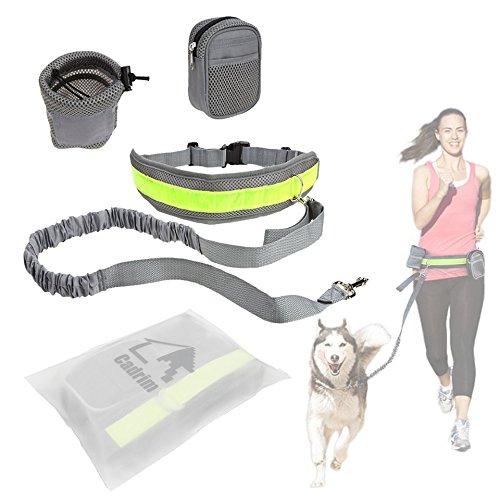 Cadrim Hunde Joggingleine mit verstellbarem Hüftgurt,elastische Bungee Leine zum handfreien Laufen/Fahrrad fahren,zusätzliche Tasche für Handy und Schlüssel etc. super zum Laufen, Joggen, Wandern und Markteinkauf,Schwarz/Weiß (Grau)