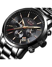 c699e3e8fb9a Lige Reloj de Los Hombres Moda Reloj de Acero Inoxidable a Prueba de Agua  Cronógrafo de Lujo Militar Reloj de…