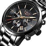 Lige Reloj de Los Hombres Moda Reloj de Acero Inoxidable a Prueba de Agua Cronógrafo de Lujo Militar Reloj de Cuarzo Analógico Clásico Cinturón Negro Fecha Calendario Reloj
