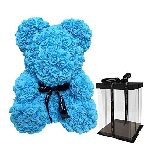 Balai Ours de Rose Rouge  oursons éternels de Fleur  Décoration de poupée en Peluche simulée Rose avec Mouss 9''