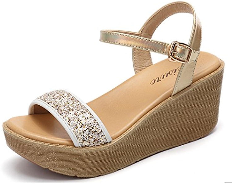 Cómodo Verano pendientes de estudiantes salvajes con sandalias Una palabra de deducción toe sandalias de palo...