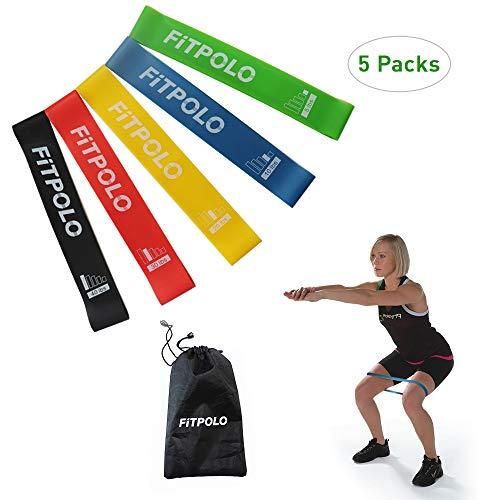 Schlanken Körper Wickeln (fitpolo Resistance Loop-Bänder, Flexbands aus Naturlatex-Fitness mit Tragetasche für Beine, Gesäßmuskeln, Crossfit-Training, Physiotherapie & Krafttraining, 5 Sätze)