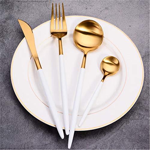 JIEHUSHI 304 Edelstahl Matte Rose Gold Europäischen Western Food Geschirr Sets Messer Gabeln Löffel Besteck 4 Stücke White Gold 4pcs (Messer-set Rosa Koch)