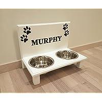 Futterbar. Frei gestalten mit Wunschname und Deko. Hundenapf für kleine Hunde. Napf Hund. Futterbar Hunde in weiß. 2 x 750 ml Edelstahlnapf (N104)