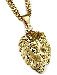 MESE London 18K Gold Plated Lion Head Necklace Bling Pendant - Free Gift Box