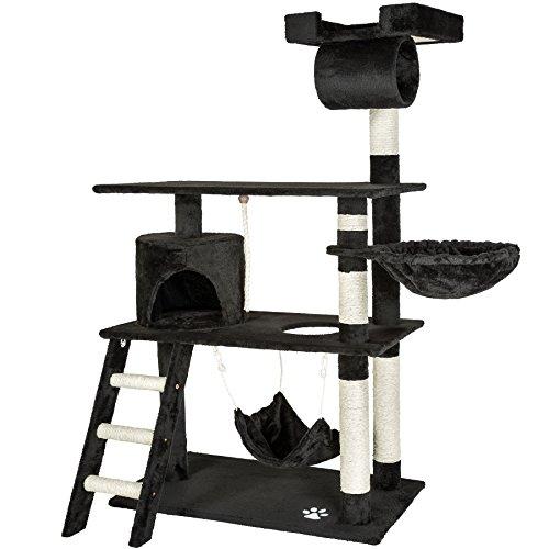 TecTake Tiragraffi per gatto gatti gioco albero 141 cm con amaca - disponibile in diversi colori - (Nero | No. 401855)
