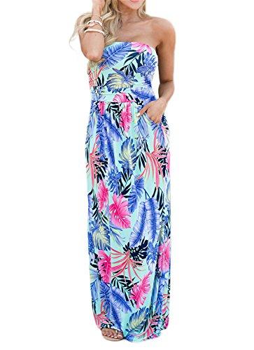 Sommerkleid Damen Partykleid Lang High Waist Schulterfrei Damen Kleider Sleeveless Beach Kleid Elegant (L, Feder)