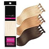ELEGANCE-HAIR® Bonding Extensions 20x 1g Echthaar-Strähnen Keratin Haarverlängerung 40cm Glatt #60 - Nude Blonde - Weiß-Blond