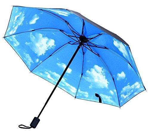 Koala Superstore Tragbarer faltender Regenschirm-Sonnenschutz-Regenschirm, Blauer Himmel und weiße Wolken