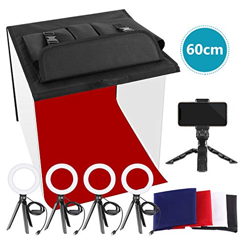 Neewer Foto Studio Box Tischleuchte für Foto Lichtbox mit 5 Stativständern 4 LED Ringlichtern 4 Farbhintergründen und einem Telefonhalter für Produkt und Schmuck Fotografie