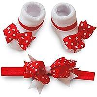 Baby Girls 2Piece set calzini con corrispondenza Fashion, colore bianco/rosso a pois di Chloe Louise (Bow Calzini)