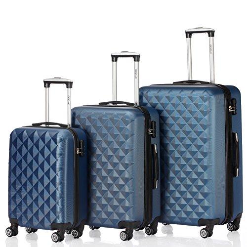 BEIBYE Kofferset 4 Zwillingsrollen Hartschale Trolley Koffer Reisekoffer Reisekofferset Gepäckset in 12 Farben (Blau)