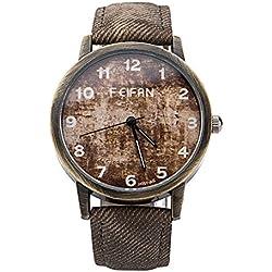 Top Brand Vintage Reminiscence Style Fashion Watch Men Canvas Denim Casual Wristwatch Cowboy Elegant Relogio Masculino Clock