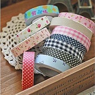 NaiCasy Stoff Washi Tape Rolle dekorative klebrige Baumwolle Klebstoff Handwerk Qualität Stoff Japanpapier Band Rolle Dekorative Klebrigen Kleber Zufällige Farbe