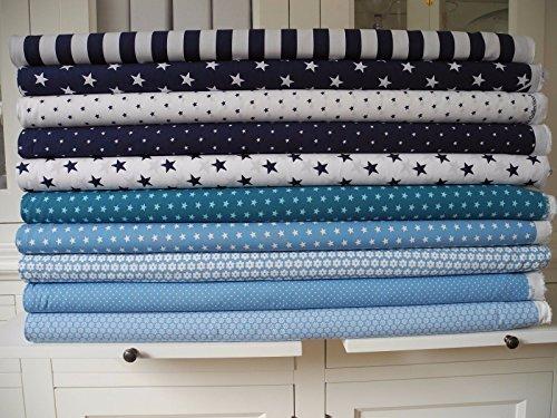 Lottashaus 10x Stoff Blau & Marine Stoffpaket Stoffe Patchwork Sterne Shabby chic - 2