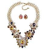 HSNZZPP Frauen Halsketten-Satz Diamant-Schmuck Mode Kurze Pullover Kettenkleid Zubehör,Multi-colored-OneSize