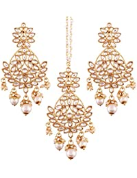 I Jewels Gold Plated Kundan & Pearl Earring Set With Maang Tikka For Women (TE2494W)