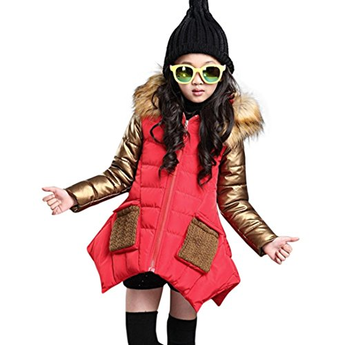 Longra Baby Kinder Mädchen Winter Daunenmantel Daunenjacken mit Fellkapuze Kinder Baumwolle Winterjacke Kapuzenjacke Kapuzenmantel Trenchcoat Warm Outwear(4-10Jahre) (160CM 9Jahre, (Leopard Katze Anzug)
