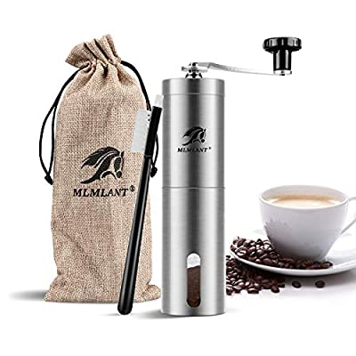 MLMLANT Manual Coffee Grinder, Stainless Steel Coffee Bean Grinder, Adjustable Ceramic Conical Burr, Hand Crank Mill, Perfect for Home, Office and Travelling. by MARYANT, INC.
