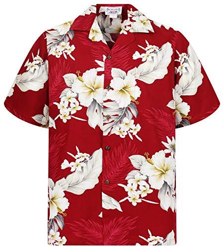 70's Disco Größe Kostüm Plus - P.L.A. Pacific Legend Original Hawaiihemd, Kurzarm, Enzian, Rot, S