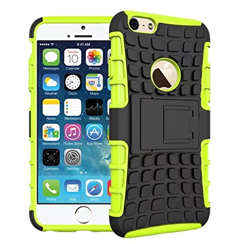 iPhone 6 & iPhone 6s Case 4.7-INCH DRUnKQUEEn Heavy Duty Rugged Hybrid Armor Dual Layer Hard Shell Tire Tread Grenade Grip Combat Tyre Textured Cover with Kickstand for Apple iPhone6 - 6 Armor Iphone Otterbox