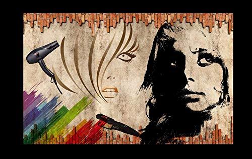 HDOUBR Papel Tapiz Personalizado murales fotográficos en 3D nostálgico Pared peluquería Herramientas de Peinado Fondo Papel de Pared Papel de Parede, 200x140 cm (78.7 by 55.1 in)