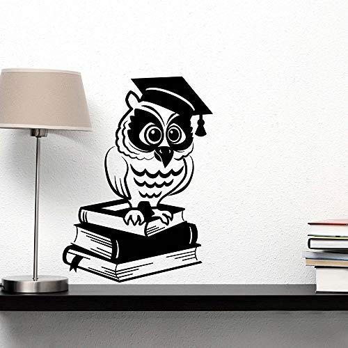 Gufo Libri in vinile Adesivo da parete Adesivo da parete per biblioteca Biblioteca Sala da lettura Decorazioni per la casa Adesivi murali per bambini Decorazioni per la camera dei bambini 74x100cm