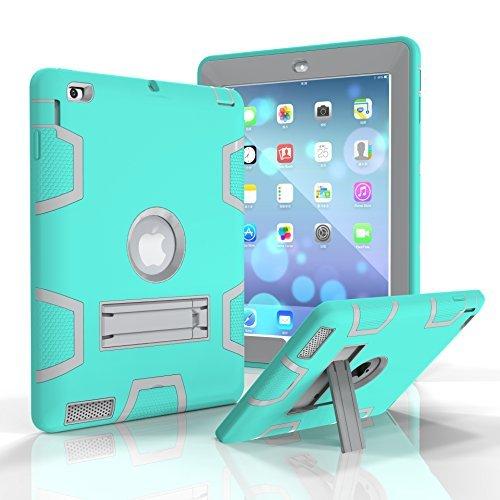 iPad 2/3/4Fall, beimu Ständer Funktion [Tire Serie] Rugged Shock absorbierenden DREI Schicht Hard Gummi Schutz Case Cover mit Stylus für Apple iPad 2./3./4. Generation, 9.7 inch, Aqua+Grey