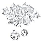 20 Piezas Cuenta Espiral Colgantes de Jaulas Accesorios de Joyería Plateado para Elaboración de Joyería, 2 Tamaños