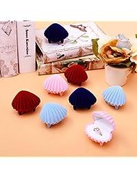 Namgiy Joyería Cajas de Regalo Forma de Concha de Mar Pendientes Collar Colgante Display Paquete Caja