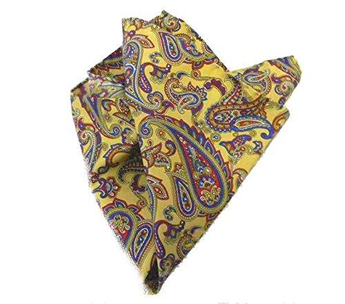 Avantgarde - Fazzoletto da Taschino Uomo Pochette Uomo Handkerchief Stampa Cashmere Paisley, Colore: Giallo Ocra