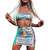 Blusa Corta con Hombros Descubiertos metálicos y Falda Mini para Mujer Conjunto de Traje de Dos Piezas Juego de Ombligo Fluorescente Mymyguoe