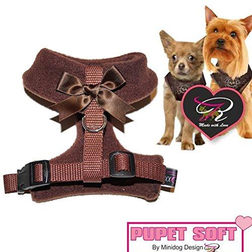 Größe M in Braun mit schleife Chihuahua; Mops, Yorkie Hunde Geschirr Brustgeschirr Softgeschirr