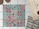 PVC Fußboden-Fliesen | Dekorations-Sticker Aufkleber Folie Badfolie Küchen-Fliesen Badezimmergestaltung | 20x20 cm Muster Ornament Durch die Blume - 9 Stück