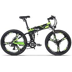 Eléctrico plegable para bicicleta de montaña para bicicleta MTB RT860 250W*36V*8Ah 26, doble suspensión 21speed Shimano dearilleur LG células de la batería doble freno de disco verde, mujer hombre