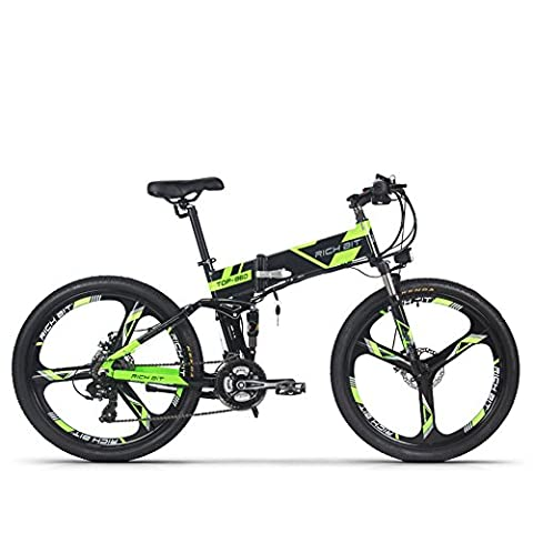 Electric Folding Mountain Bike Mens Bicycle MTB RT860 250W*36V*8Ah 26 Inch Dual Suspension 21Speed SHIMANO Dearilleur LG Battery Cell Double Disc Brake Green