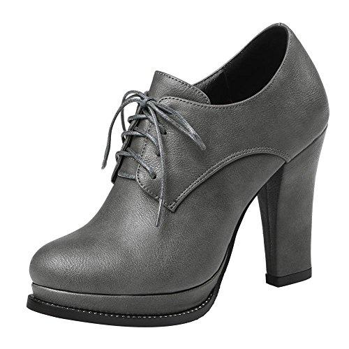Mee Shoes Damen high heel mit Schn眉rsenkel Ankle Boots Grau