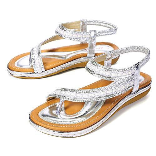 Sandale schöne Flip Flops mit glänzenden Dekoration Bohemia Strass Sommer Strand Schuhe waschbar schnell trocken atmungsaktiv Slipper Casual Toe Separator für Damen ()