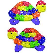 Viga - Rompecabezas 3D con forma de tortuga - 2 en 1: abecedario y números - Madera