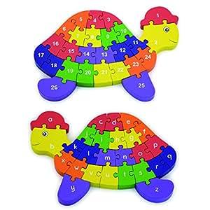 Viga - Puzzle tortue 3D en bois - 2 en 1 - alphabet & chiffres