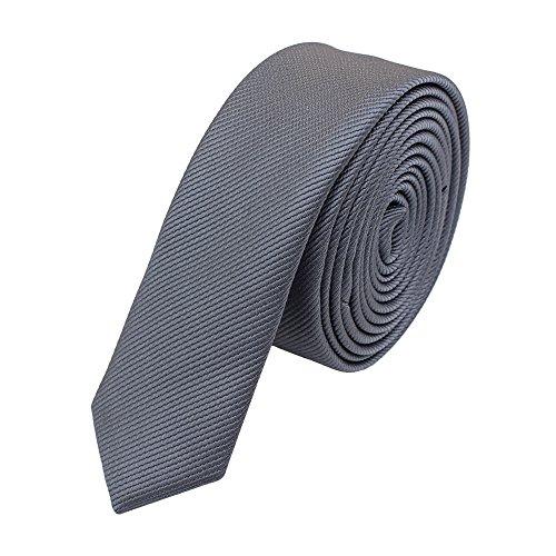 Schmale, stilvolle Fabio Farini Krawatte 3 cm X-Slim in verschiedenen Farben, Grau