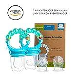 Baby Fruchtsauger Schnuller für Obst und Gemüse - Aus Premium Silikon zu 100% BPA-frei - Fruchtschnuller Set (Blau)