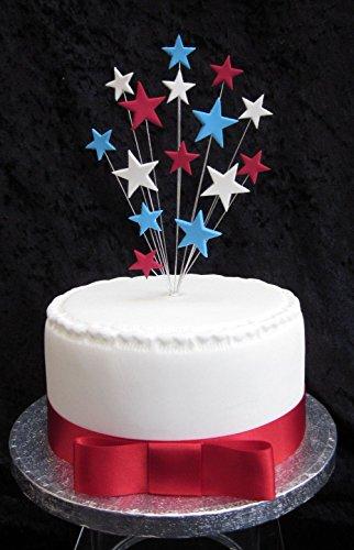 Karen's Cake Toppers Rouge, Blanc et Bleu étoiles gâteau Convient pour Un Petit gâteau Plus 1 x M 25 mm Ruban en Satin Rouge avec nœud