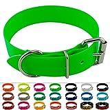 LENNIE BioThane Halsband, Edelstahl-Rollschnalle, 38 mm breit, Größe 38-48 cm, Neon-Grün, Aufdruck möglich
